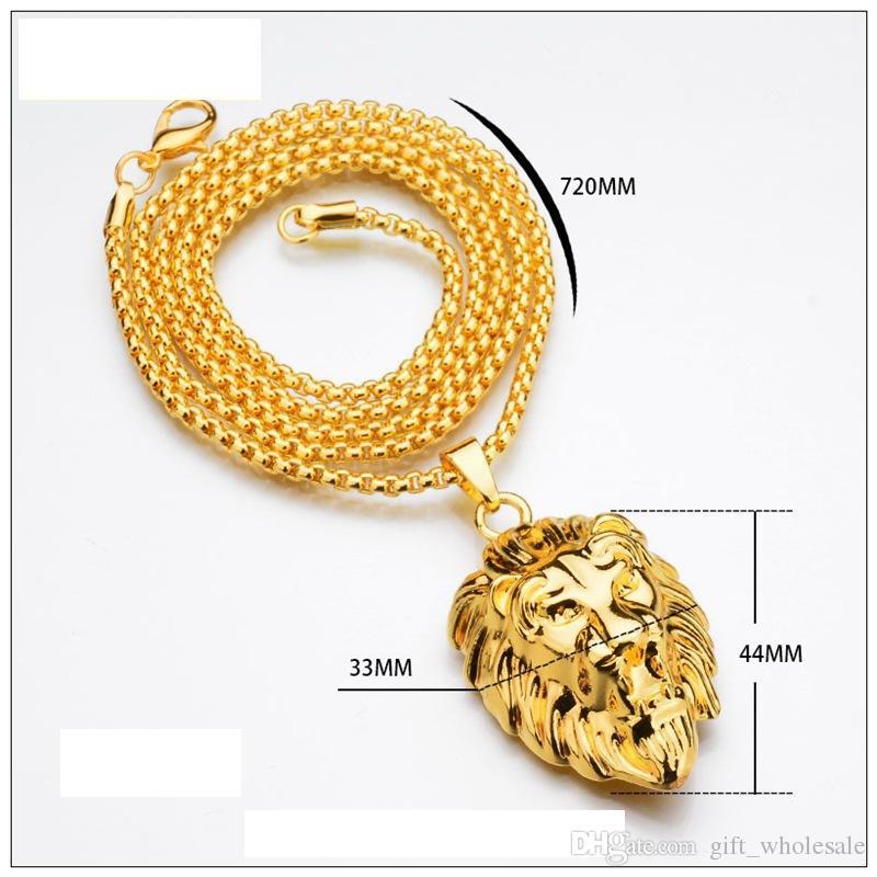 New Vintage Große Klassische Lion Head Anhänger 18 Karat Reales Gold Überzog Choker Halskette Schwimmdock Charms Schmuck Großhandel
