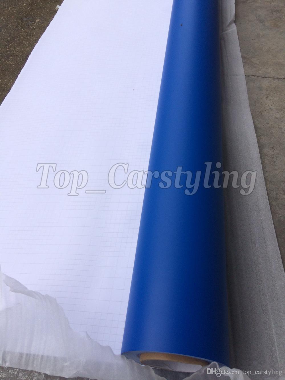 Película de envoltura de vinilo mate azul oscuro con burbujas de aire / Vinilo mate para envoltura de vehículos Cubiertas de cuerpo 1.52x30m / rollo 5 pies x 98 pies