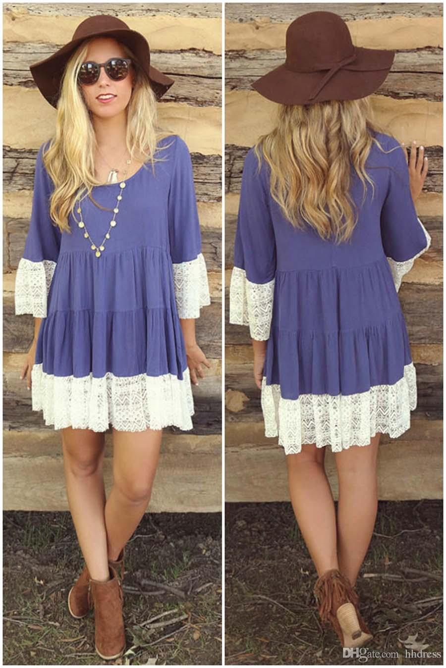 81373306b396 High Quality Short Lace Casual Dress For Women 3 4 Sleeve Summer Beach Maxi Dress  Ladies T Shirts Blouse Casual T Shirt Dresses Sundresses Shift Dress From  ...
