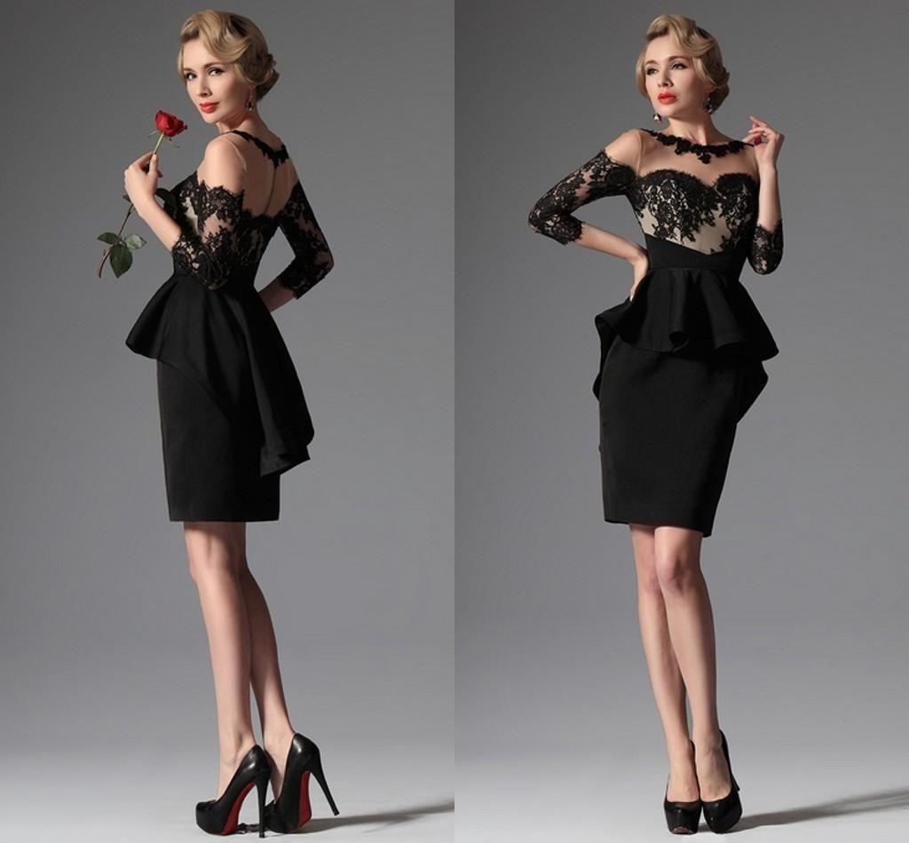 2017 Noir Sexy Cocktail Robes Short Sheer Sheer Dentelle Applique Coldine Coldine Peplum Geath Fête Robes pour femmes