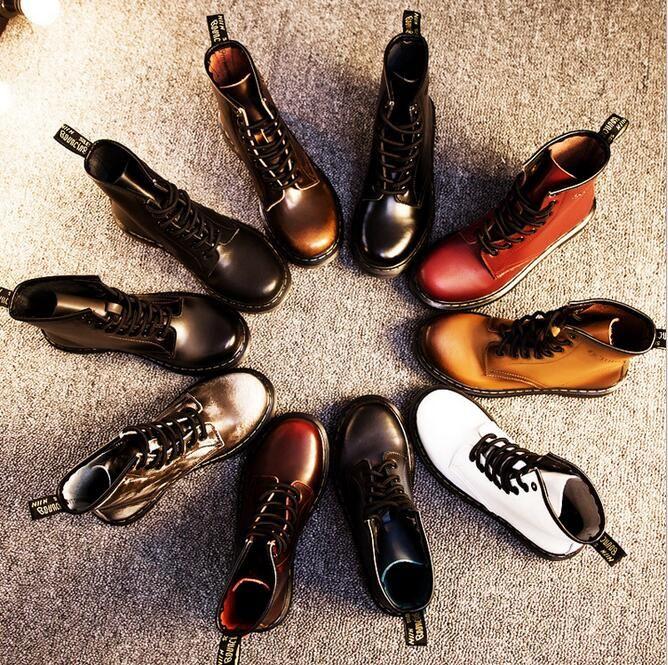 Botas mulheres outono e inverno botas de salto baixo com botas britânicas Martin botas de couro feminino em botas femininas