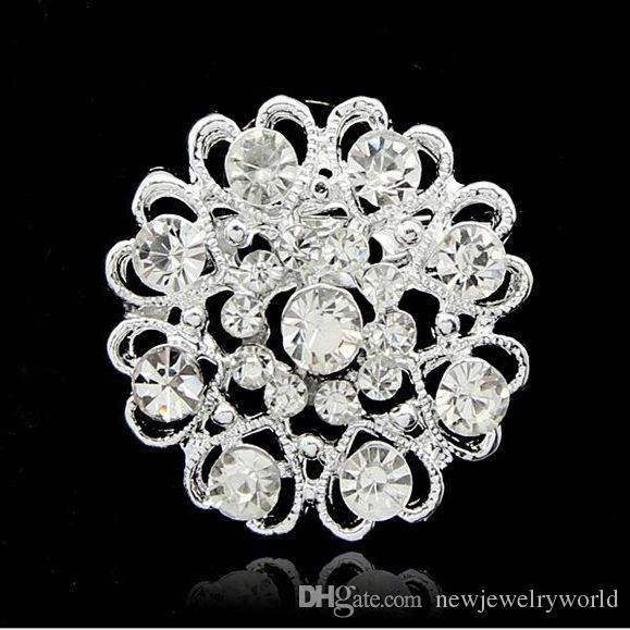 Silver Tone lovely Heart Flower Crystal Wedding Brooch Stunning Austria Crystals Detailed Women Gift Brooch Pins Diamante Jewelry Broaches
