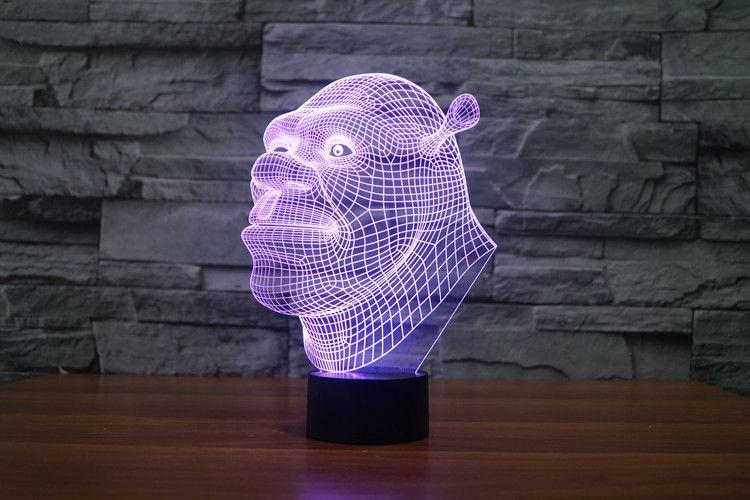2017 New Design Shrek 3D Optical Lamp Night Light 9 LEDs Night Light DC 5V Colorful 3D Lamp