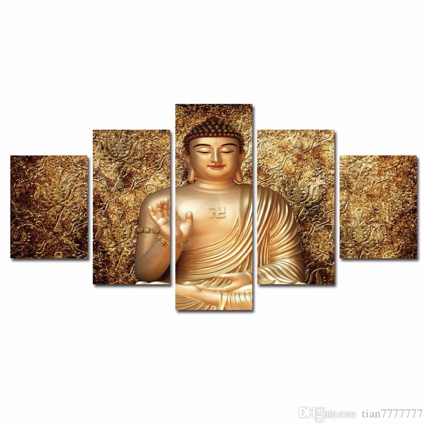 New Golden Buddha Zen Oil Painting Canvas Print Room Poster Picture For Home Wall Decor No Frame