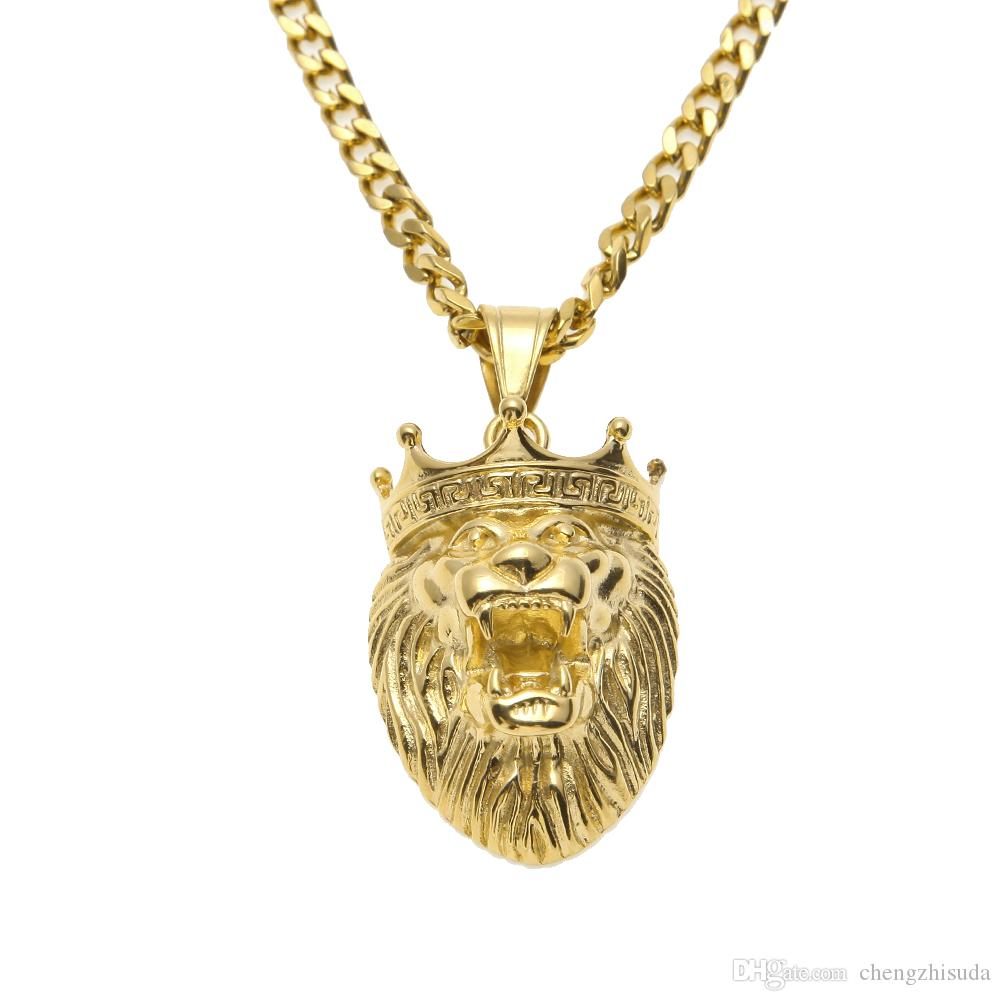 Wholesale stainless steel 24k gold plated lion king head charm wholesale stainless steel 24k gold plated lion king head charm pendant necklace 24 275 cuban chain hiphop animal necklace star style tanzanite pendant aloadofball Image collections