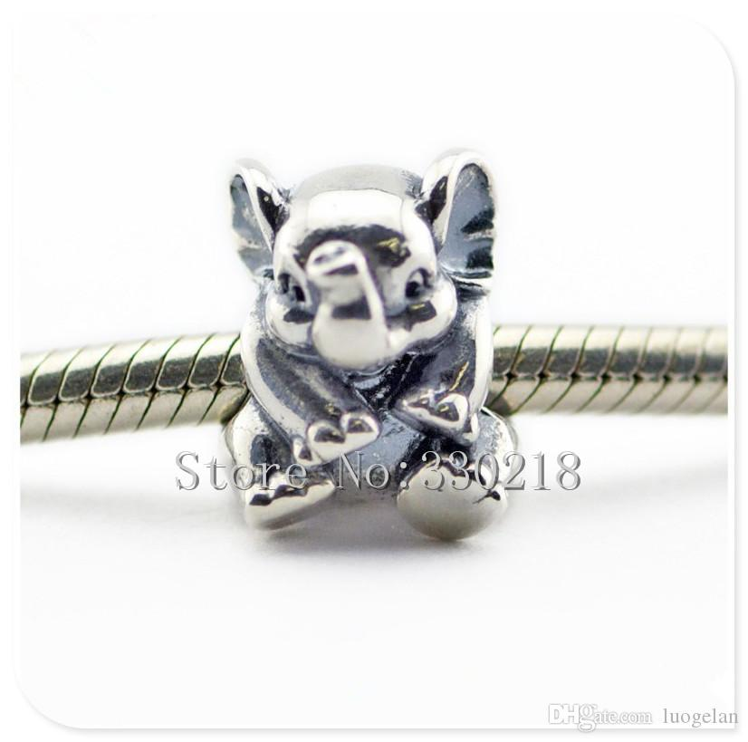 Fits Pandora Bracelets Lucky Elephant Silver Beads 2016 Summer Style 100% 925 Sterling Silver Charms DIY Women Jewelry 08399