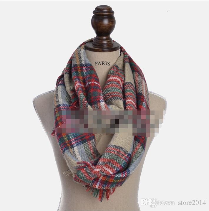 2018 Newest Fashion Imitation Cashmere Plaid Infinity Scarf/Loop Scarf Women Scarf Warm Soft Winter Tartan Scarf