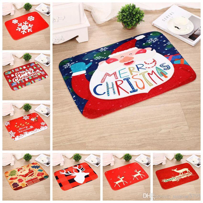 Red Christmas Home Decorations Indoor Outdoor Doormat Cartoon Kids Room Carpet Festival Deer Snowflake Rugs For Kitchen Bathroom Industrial Broadloom