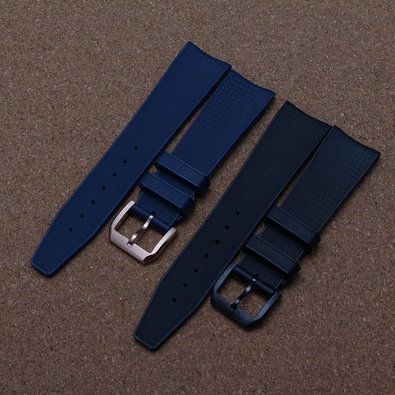 Nueva correa de caucho de silicona correa de 22 mm impermeable azul azul banda para relojes de pulsera extremo curvo rosegold hebilla negra Deporte