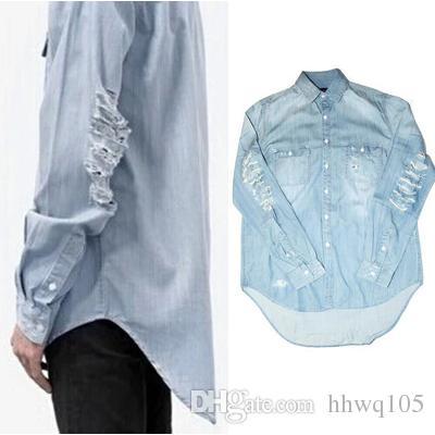 c0820b216b6f 2019 Blue Ripped Denim Shirt For Men Long Sleeve Hi Lo Hem Casual Shirt Hip  Hop Streetwear Fashion Spring Autumn Long Top YYG1008 From Hhwq105