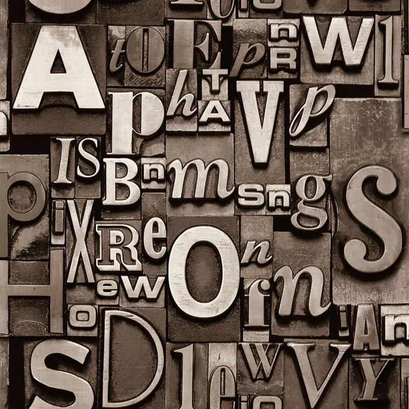 3d English Alphabet Three Dimensional Personality Retro Fashion Wallpaper Living Room Bar Coffee Shop Background Wall Industrial Wind Free Wallpapers