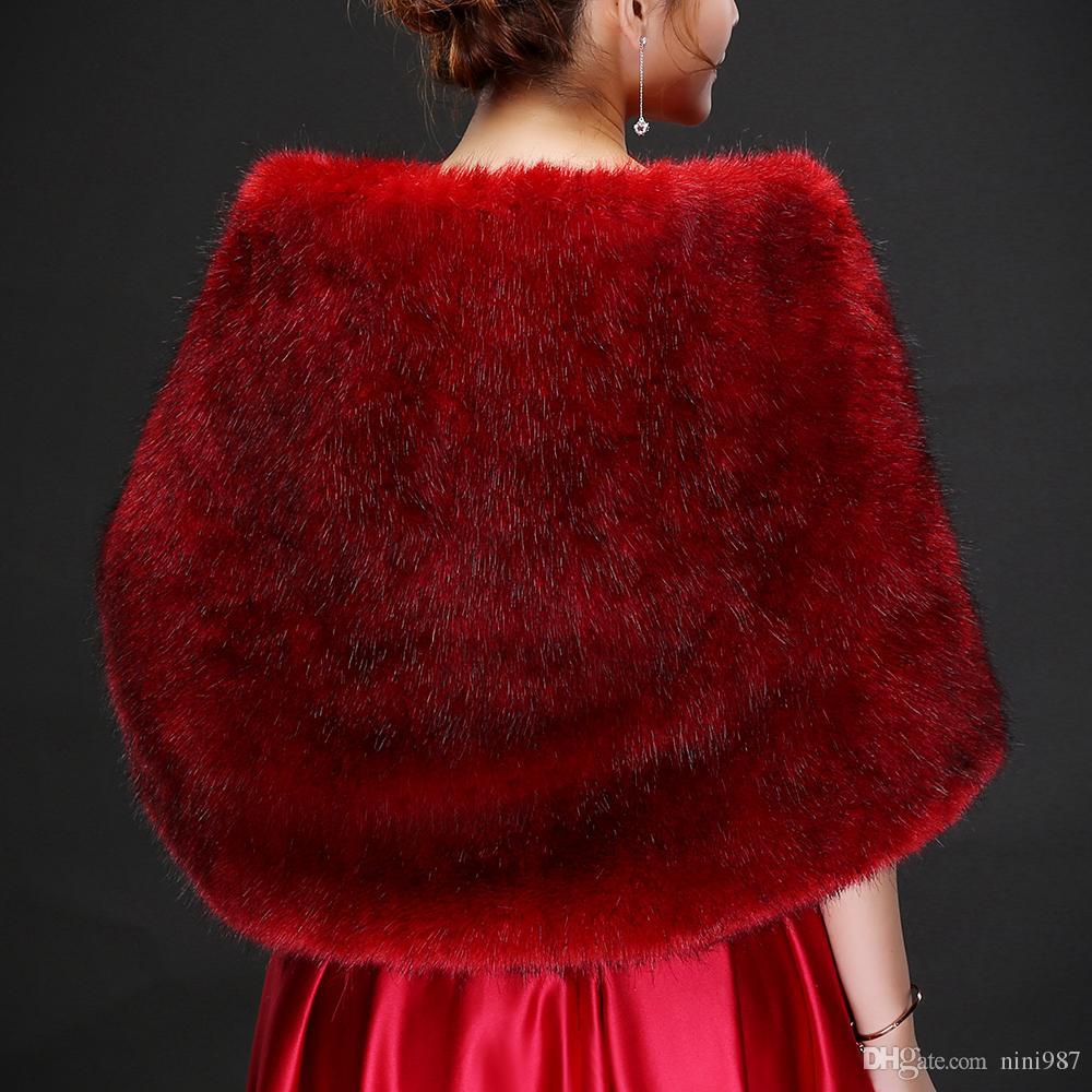 Resl photo Burgundy Luxurious Ostrich Feather Bridal Shawl Fur Wrap Marriage Shrug Coat Bride Winter 2018 Wedding Party Boleros Jacket Cloak