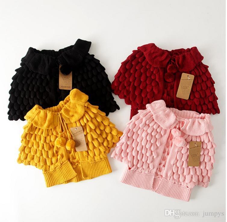 Sunshine Kids Girls Knitted Cape Sweaters Coats Children Knit
