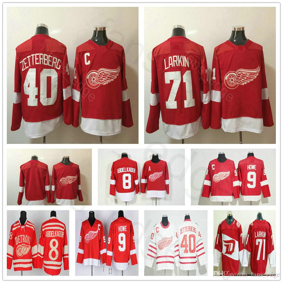 2019 2018 New Brand Detroit Red Wings Hockey 8 Justin Abdelkader Jersey 9  Gordie Howe 40 Henrik Zetterberg Steve Yzerman 71 Dylan Larkin Jerseys From  ... 984a1d534