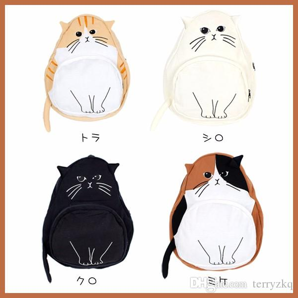 2016 Japanese Cat Cute Canvas Backpacks Female Mochila College High School Bags for Teenage Girl Kawaii Backpack Travel Rucksack BLB083
