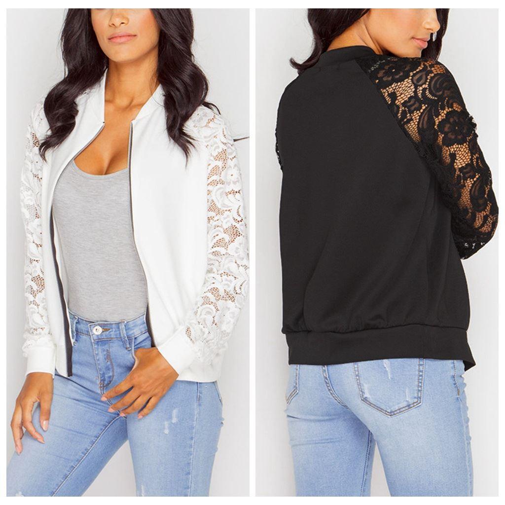 Wholesale Fashion Black Lace Bomber Jacket Women Zipper Basic ...