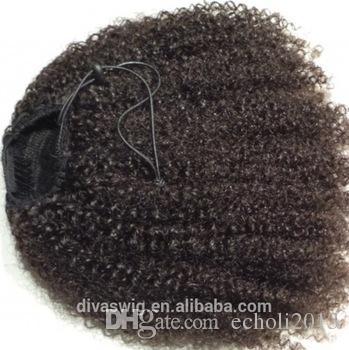 Kinky lockiges Frauen Pferdeschwanz menschliches Haarteil 10A Afrikanisches menschliches Pferdeschwanzverlängerung natürliches Schwarzes 1b für schwarze Frauen geben Verschiffen 160g frei