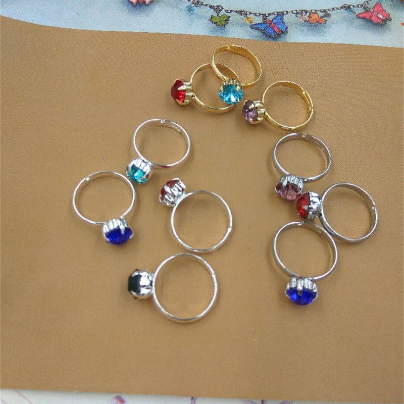 BOYUTE Bulk Sale Mix Rhinestone Color Jewelry Ring Fashion Adjustable Simple Ring for Women