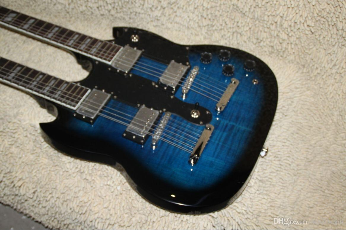 Wholesale - blue Classic Double Neck 1275 Custom Electric Guitar 6 strings and 12 strings A11189