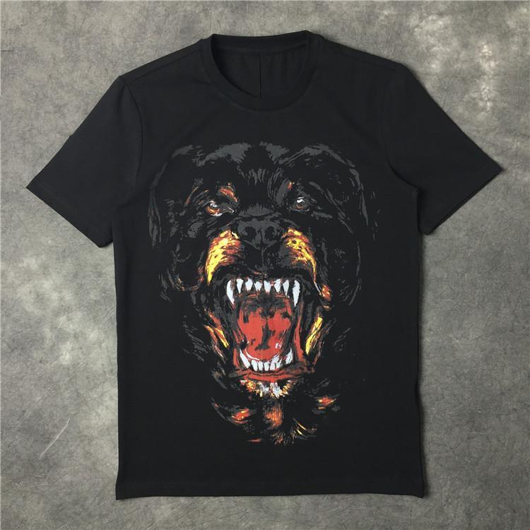 여름 브랜드의 새 남성 여름 패션 고급 티셔츠 애 마 개가 면화 티셔츠 검은 색 짧은 소매상의