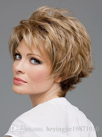 Xiu Zhi Mei Hot sell Natural highlights short blonde wig synthetic afro hair, puffy straight short wigs for black women free ship