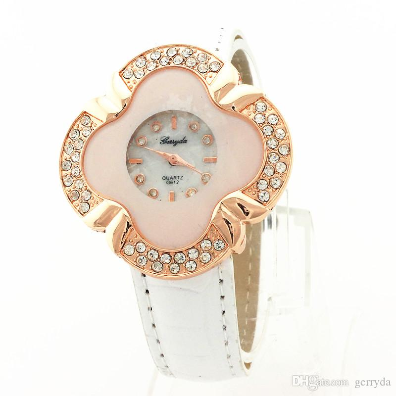 !PVC leather band,flower shape case,rhinestone deco,quartz movement,gerryda fashion woman lady quartz leather watches,612
