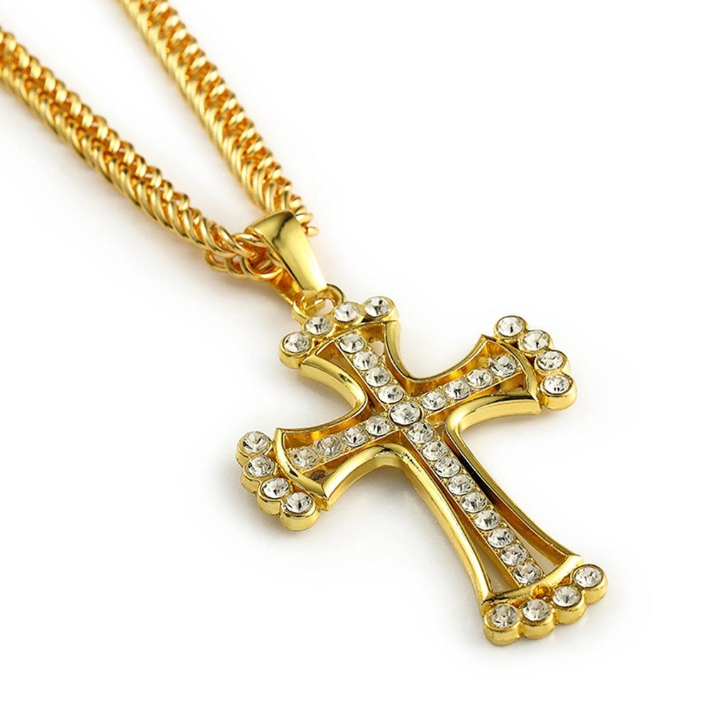 Wholesale iced out cross pendant 18k yellow gold filled mens wholesale iced out cross pendant 18k yellow gold filled mens crucifix pendant chain necklace jewelry design gold charms from blingfashion 1408 dhgate audiocablefo