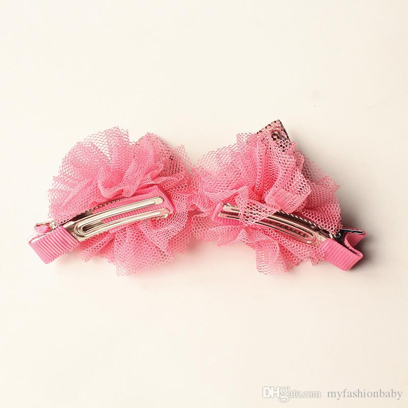 2017 New Glitter Felt Hair Clips Girls Pink Cat Ear Hairpins Girls Shinning Seqins Kids Gauze Hair Clip Hair Grip Cartoon