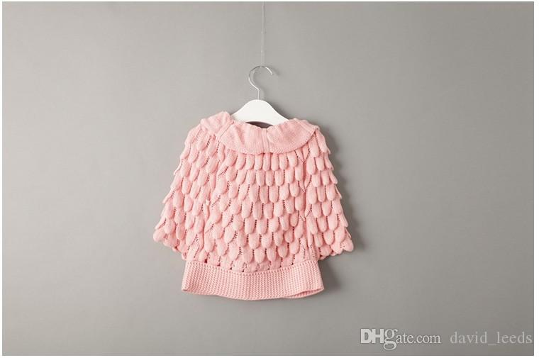 2016 New Autumn Winter Girls Knitted Cardigan Sweaters Children Pineapple Capes Shawls Kids Ruffles Jackets Outwear Girl Poncho Coats