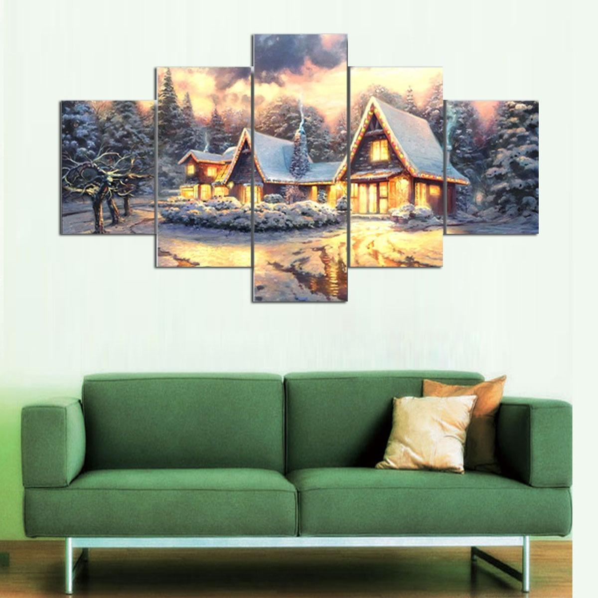 Thomas Kinkade Christmas Cottage,Home Decor HD Printed Modern Art Painting on Canvas Unframed/Framed