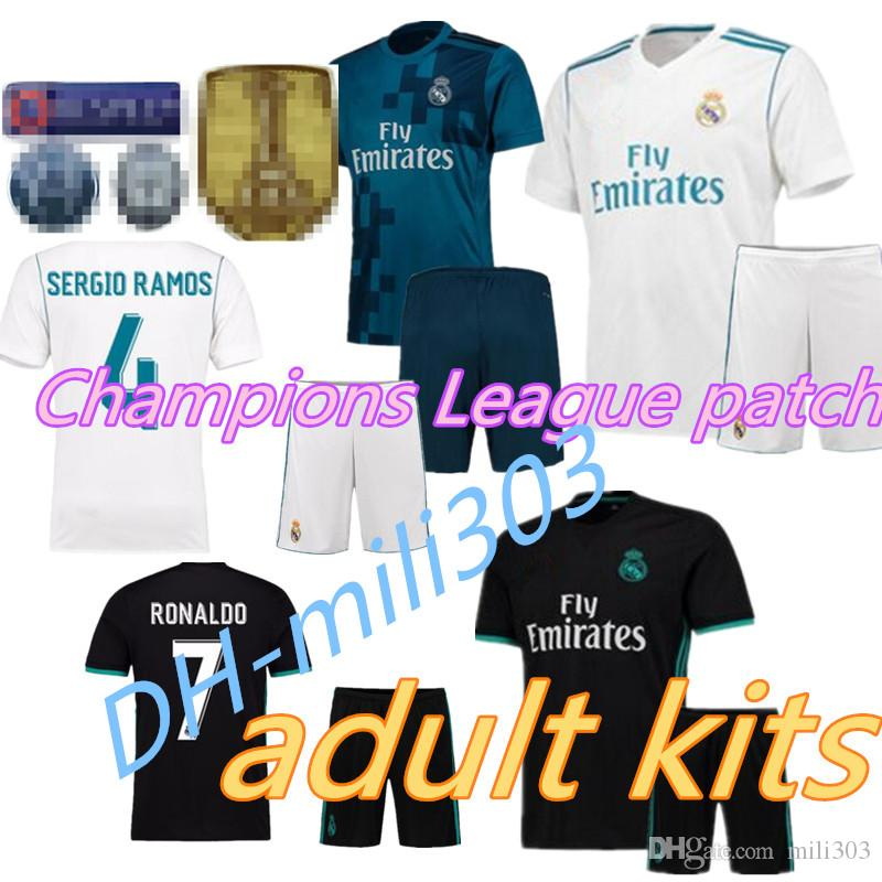 7f1f88bf08 17 18 Real Madrid Kits Soccer Jersey 2017 2018 Benzema Ronaldo ASENSIO  Modric Kroos Sergio Ramos Bale Marcelo Champions League Patches Football  Soccer ...