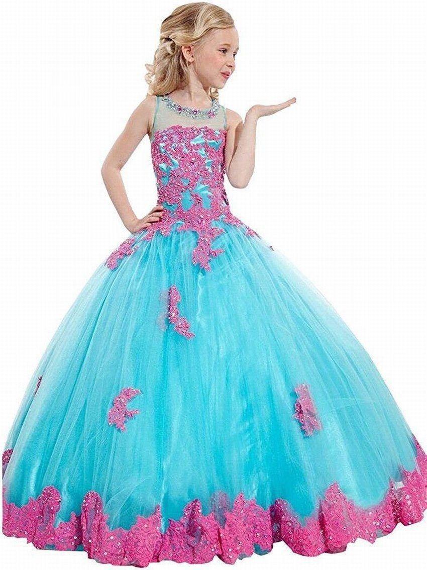 New Princess Flower Girl Dresses Appliques Ball Gown Lovely Girl ...