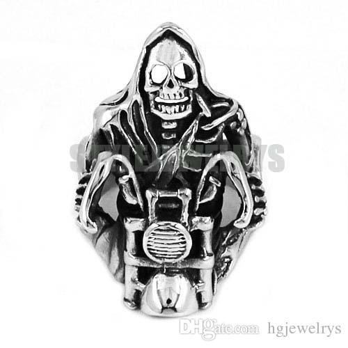 Бесплатная доставка! Мрачный Жнец череп ездить мотоцикл кольцо из нержавеющей стали ювелирные изделия старинные череп мотор байкер мужчины кольцо SWR0446 B