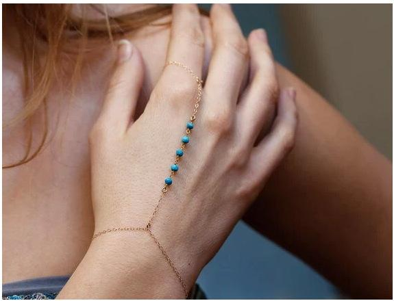 Fashion Turquoise Gem Chain Tassel Bangle Slave Finger Ring Hand Chain Harness Gold Celebrity Christmas Gifts Jewerly