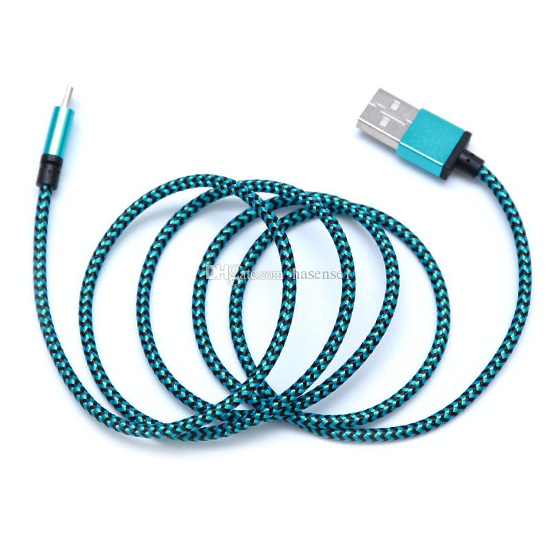 1M Unbroken Metal Connector Fabric Nylon Braid Micro USB Charger Braided Cables Data Sync Charging Cables for Micro Android Samrt Phones