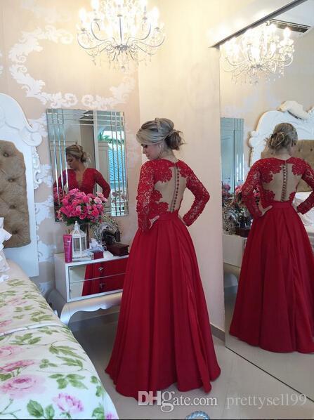 새로운 사용자 정의 만든 섹시한 V 넥 긴 소매 A 라인 레이스 이브닝 드레스 2017 쉬어 가기 댄스 파티 파티 드레스