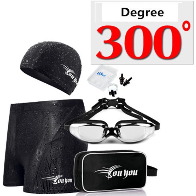 빠른 배송 패션 수영 의류 워터 스포츠 비치 수영 모자 고글 코 클립 귀마개 가방 다섯 조각 복서 수영 트렁크