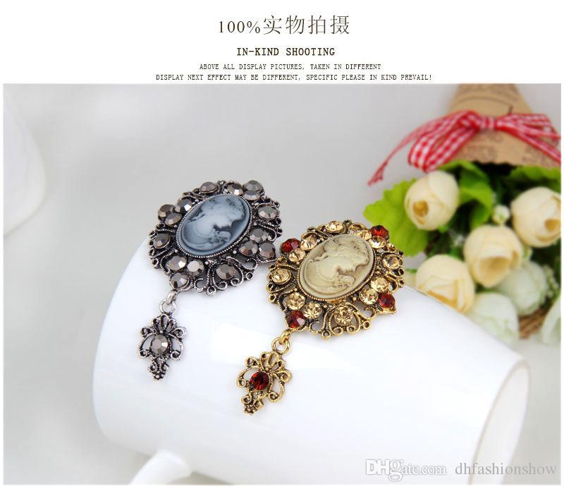 Joyería de moda largo de la vendimia de plata Broche de oro antiguo bonito broche del Rhinestone de regalo de belleza camafeo broches de Navidad para las mujeres