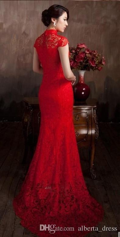 Elegante Material de Renda Cor Vermelha de Luxo Chinês Tradicional Vestido de Casamento Qipao Sereia Vestido De Noiva 2019 Vestido De Noiva