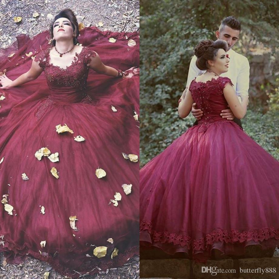 2017 New Arrive Burgundy Puffy Wedding Dresses Cap Sleeve Beaded ...