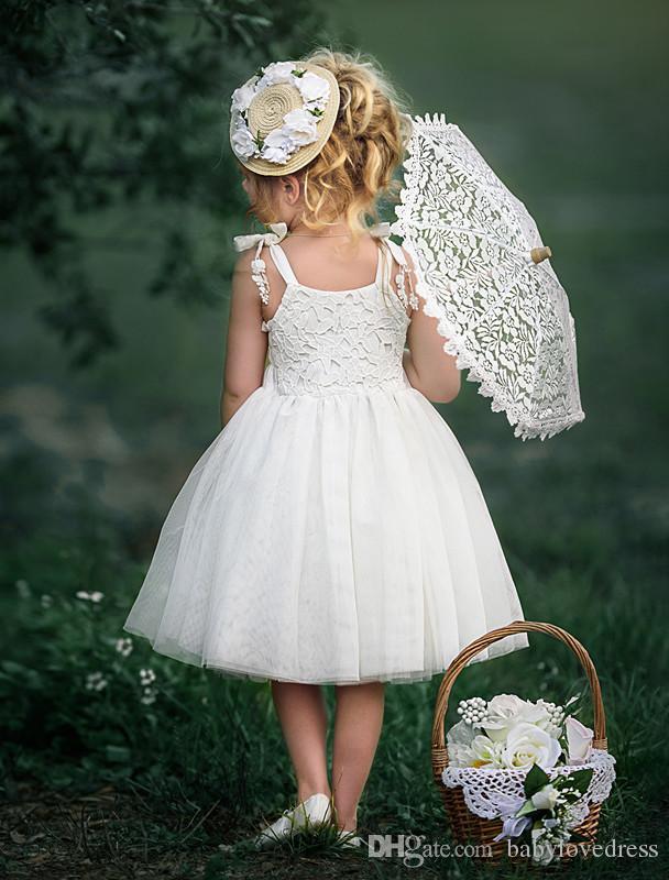 Abiti da comunione bianchi puri spalline in pizzo top abiti da festa al ginocchio tulle flower girls dresses matrimoni