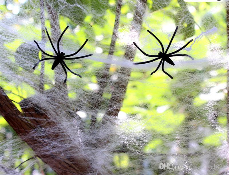 Halloween Party Decoration Fake Spider webs Bar Haunted House Hallowmas spider's cobweb Saints' Day Festival Supplies children Toy gifts