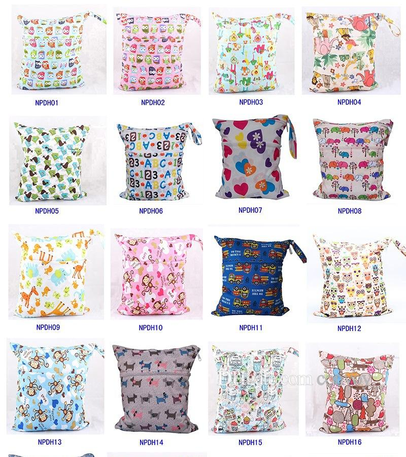 48 Types Baby Wet Dry Diaper Bag Infant Travel Nappy Organizer Double Zipper Waterproof Tote Bag with Soft Snap Handle Free DHL MPB06