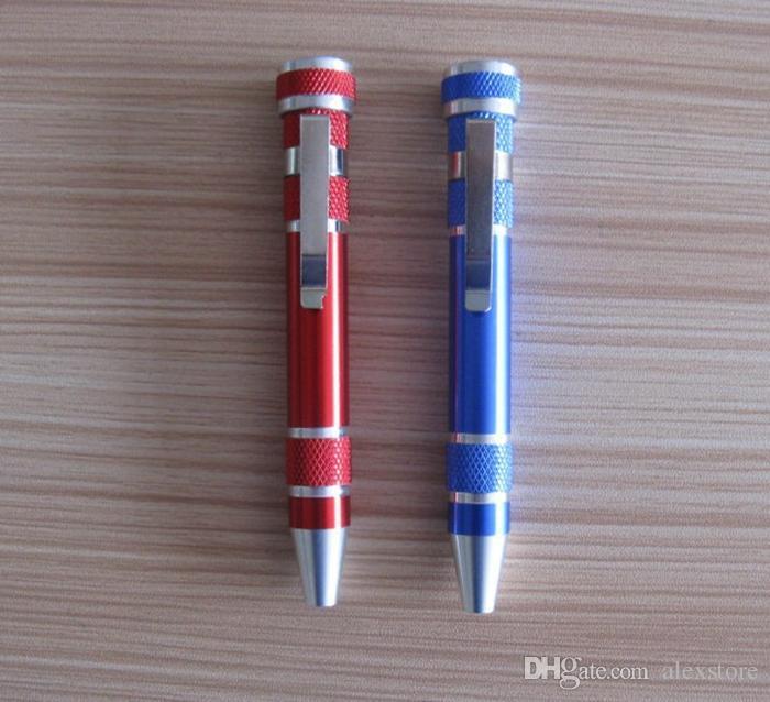 8 En 1 Precisión Pluma Magnética Estilo Destornillador Juego de Brocas Ranurado Phillips Torx Hex V1.5-3.5 Reparación Portátil Herramienta de Bricolaje DHL