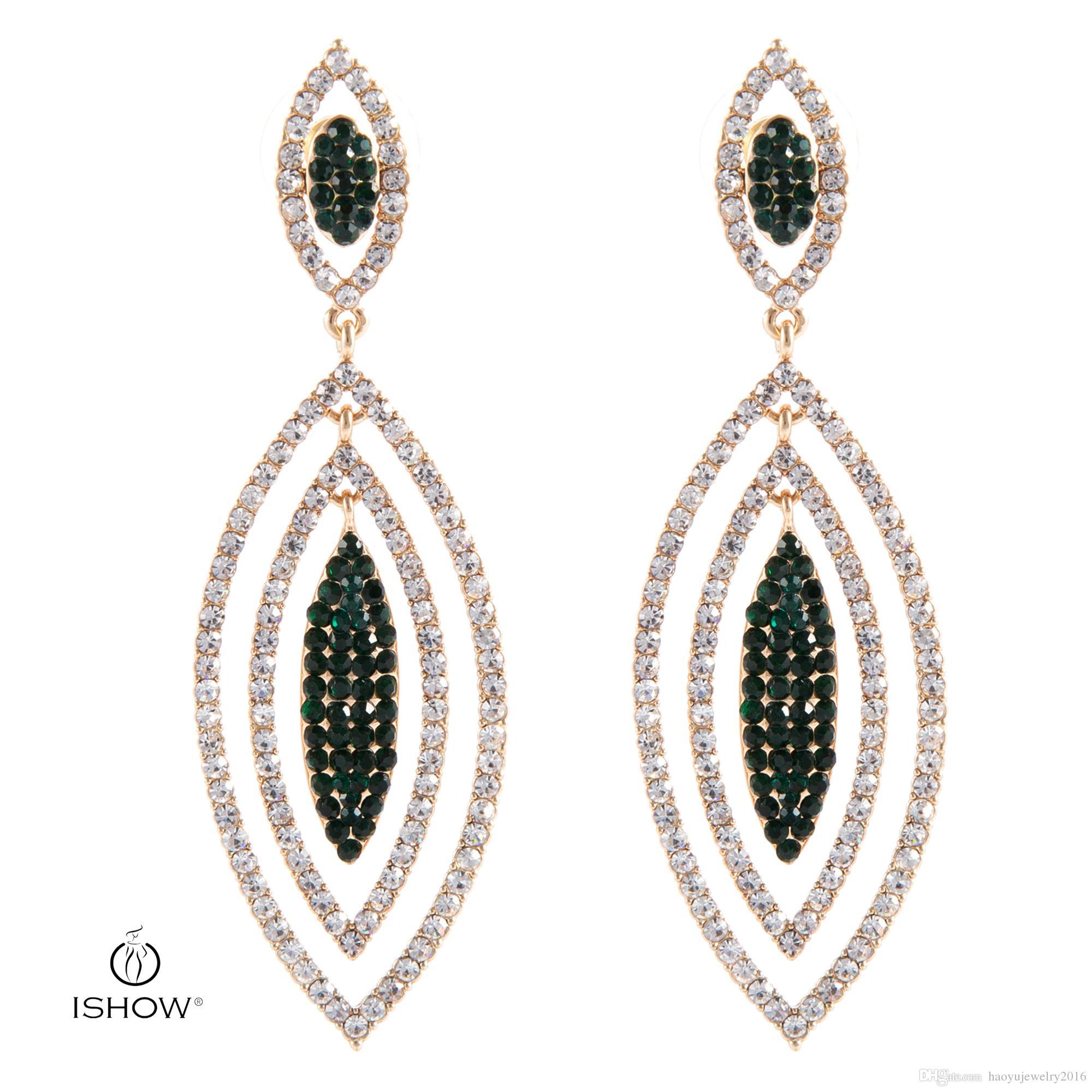 2017 New Long Earrings Women Leaf Bridal Green Crystal Jewelry