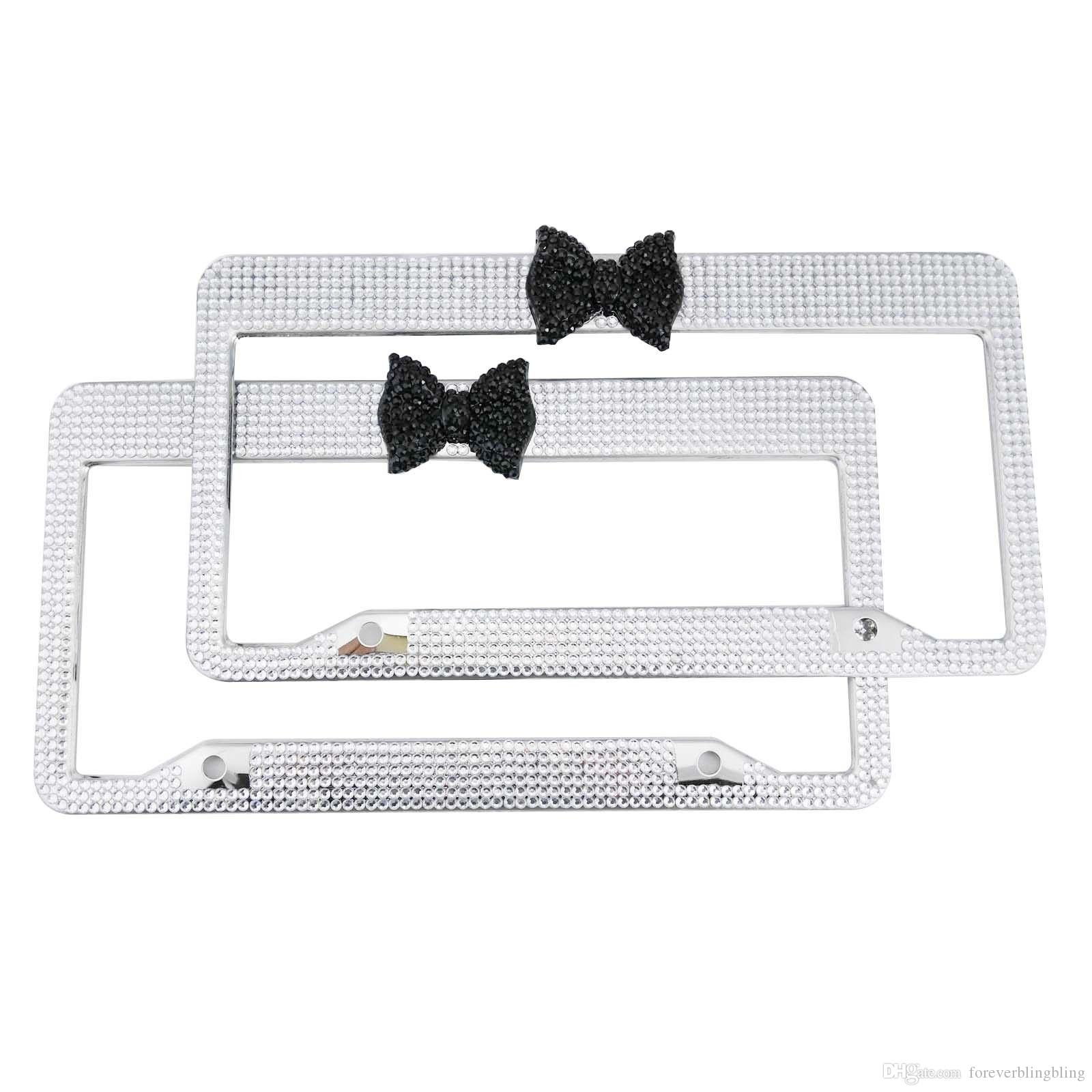 2018 2016 Hot Wholesale Black Bow Crystal License Plate Frame,Bling ...