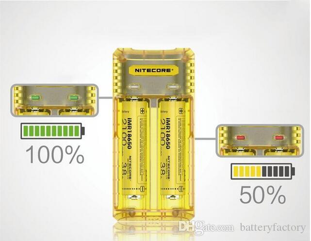 Original Nitecore Q2 2-Slot 2A Quick Charger Intellicharger Universal E Cig Chargers For 18650 26650 20700 IMR Li-ion Battery 100% Genuine