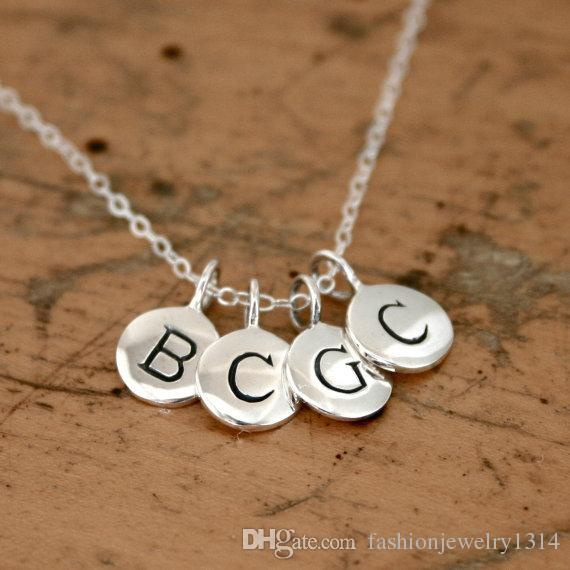 Wholesale customize tiny round alphabet letter personalized initial wholesale customize tiny round alphabet letter personalized initial charm pendant necklace simple sterling silver hand stamped jewelry silver jewellery aloadofball Images