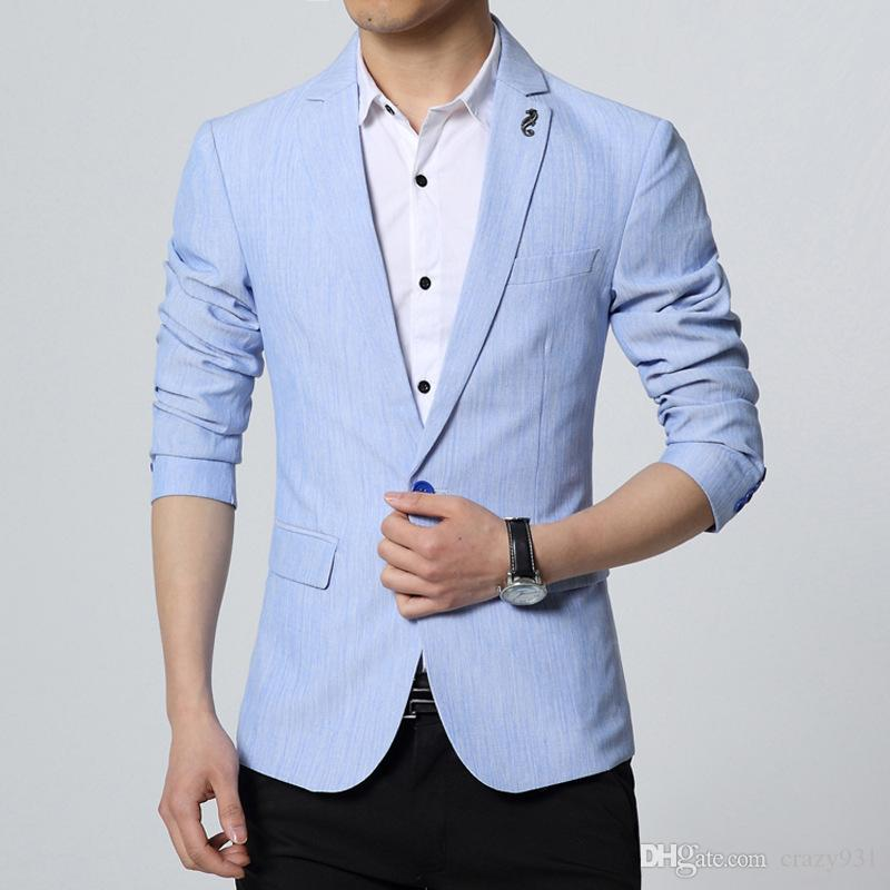 92cf7413b00 2019 Linen Blazers Men Linen Blazer Mens Linen Jacket Luxury Brand Veste  Homme Marque Luxe Korean Fashion Wedding Dress Slim Fit From Crazy931