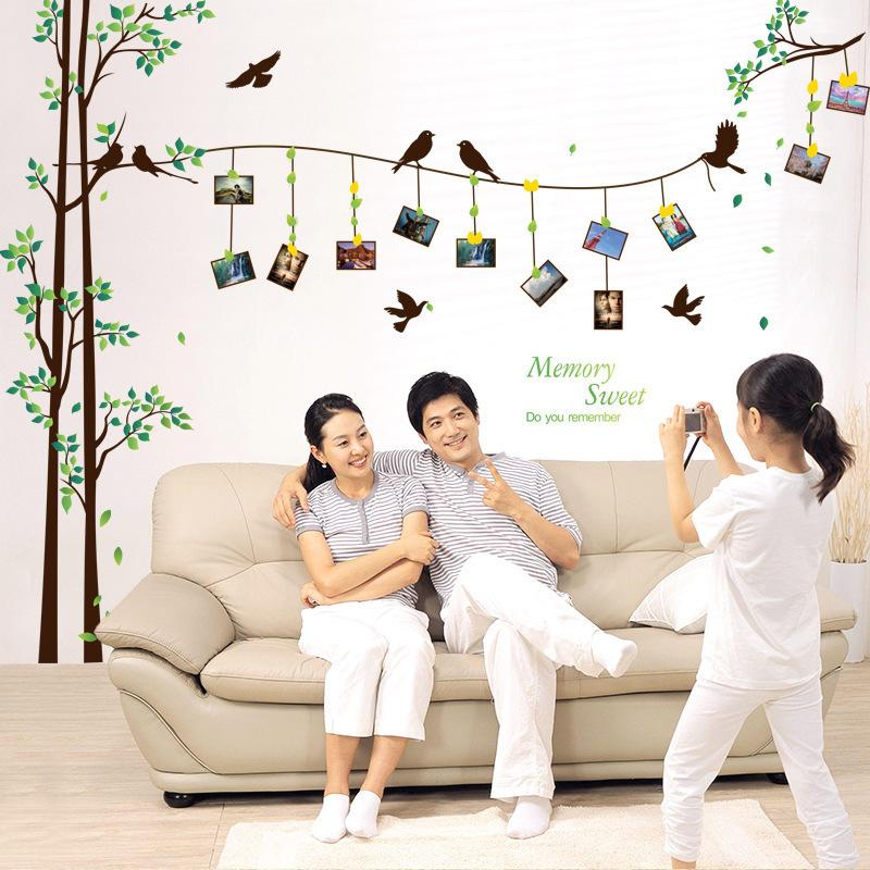 Brand 2017 290*205 Large Size Family Photo Frame Tree Wall Sticker Decal Home Decor Living Room Bedroom Wall Stickers Poster DIY